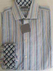 Thomas Dean men's 2XL 100% Cotton Multicolor Striped Flip Cuff NWT
