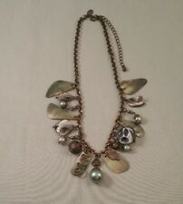 Lia Sophia Marked Copper Tone Mother of Pearl Feather Charm Necklace - Jewelry