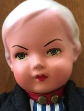 Vintage Bisque Boy Doll - Wire Joints - Sawdust Filling - Painted Face - Clothed