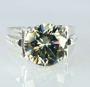Round 12.11 Ct Champagne Diamond Solitaire Men's Heavy Setting Ring Great Gift