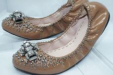 NUEVO Miu Miu mujer Zapatos manoletinas planas Beis Talla 39 Cuero barnizado