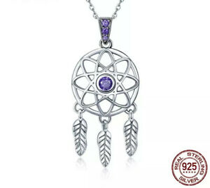 925 Sterling Silver & Amethys Dreamcatcher Charm Pendant Necklace Feather Tribal