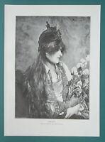 YOU MAIDEN Pensive Holds Bouquet of Irises - 1892 Victorian Era Print