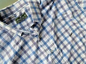 Southern Point Co. men's XL The Hadley Shirt Plaid Checks Coral Blue White
