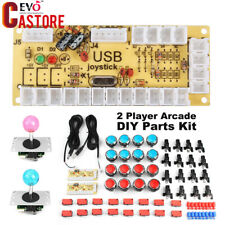 2 Player Arcade DIY Parts Kit LED Push Button USB Encoder Joystick