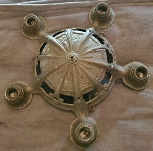 ANTIQUE CEILING 5 LIGHT BULB ~ CAST ALUMINUM ART DECO  HANGING LIGHT FIXTURE