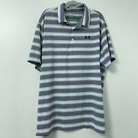 Under Armour Heat Gear Mens Golf Polo Shirt 2XL White Navy Blue Stripe Loose