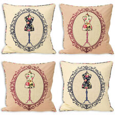Paoletti Victoria Manequin Applique 100% Cotton Cushion Cover, 45 x 45 Cm