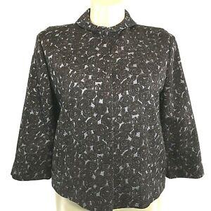 Elie Tahari Jacket LARGE Blazer Silk Wool Brown Blue Hidden Snap Pocket Texture