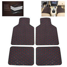 4pcs PU Leather Car Floor Mat Rug Pad Dustproof Auto Carpet Waterproof dustproof
