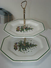 Nikko 'Christmastime' Two-Tiered Porcelain Serving Plate Christmas China - Japan