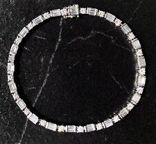Platino Rotondo Baguette E Diamante Vintage Tennis Dritto Linea Bracciale 18.4cm