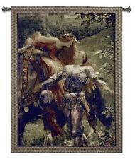 LADY KNIGHT IN SHINING ARMOUR LABELL MEDIEVAL ART TAPESTRY WALL HANGING LG 53x66