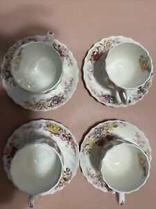 Copeland Spode Fairy Dell Tea Cups & Saucer Set Of 4