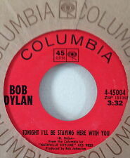 Bob Dylan 1969 Tonight I'll Be Staying Here...Columbia 45004 Country Rock NOS EX