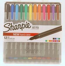 Sharpie Art Pens Fine Point Assorted Colors, Hard Case Easel, 12 Pack Fineliner