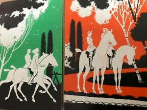 Silhouette Man & Lady Romance Horse Ride in Wood Vintage Swap Playing Cards PAIR