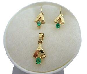 Conjunto en oro 18 cts y esmeraldas