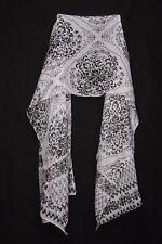 White & Black Floral Motives Pattern Print Sheer Scarf For Casual Wear S175A
