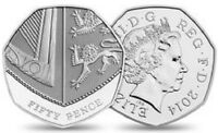 2014 50P COIN RARE SHIELD FIFTY PENCE IN ALMOST UNCIRCULATED CONDITION b
