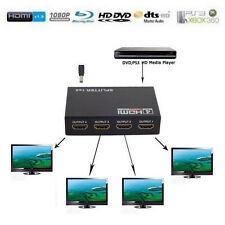 v1.4 3D 1080p 1 in 4 out 1X4 4 Port Full HD HDMI Splitter Hub Repeater Amplifier