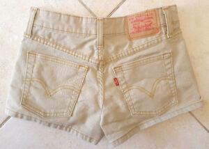 Levis Jean Short Shorts 0 JR-Wheat Khaki Beige Tan-Stretch