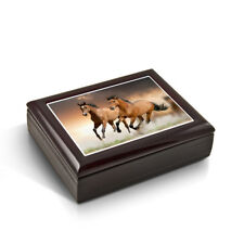 A Pair Of Competitive Wild Horses Tile Musical Jewelry Box
