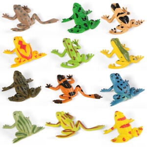 12PCS Small Toy Frogs Character Figure Fun Toys Plastic Realistic Frog Model