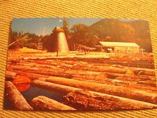 Vintage Postcard Old Sawmil-northwest chrom –logs in river unused