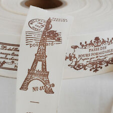 Retro Cotton Fabric Ribbon Sewing Label - French Paris Eiffel Tower Airmail