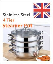 4 Tier Large Steamer Pot Pan Glass Lid Induction Hob Cookware Set Food Cooking