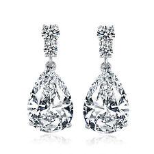 10*15mm Pear Drop Diamond Silver White Gold Filled Women Lady Wedding Earrings