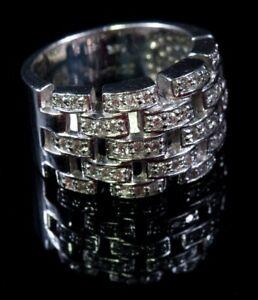 Rare Designers SONIA B. BITTON 14K White Gold 48 Diamonds  Cocktail Ring