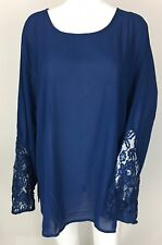 Eloquii Semi-Sheer Lace Long Sleeve Top Blouse Plus Size 22
