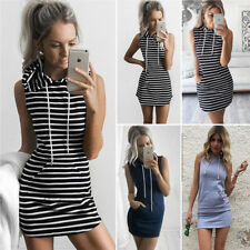 UK Womens Slim Bodycon Summer Bandage Mini Dress Ladies Hoodie Tops Size 4-22