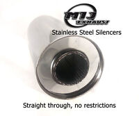 """304 Stainless Exhaust Silencer Box 4 5 6 Inch Body 1.75 2 2.25 2.5 3"""" Bore Inlet"""