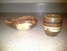 New listing Matching Vintage Set of Onyx Ashtray and Cigarette Holder/Cup - Italy