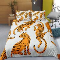 Single/Double/Queen/King Size Bed Doona/Duvet/Quilt Cover Set Tiger White Linen