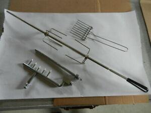 "BBQ Grill Rotisserie Spit Rod Bar - Handle - Spit Forks - Assembly - 31"""