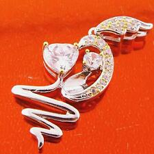 FSA173 GENUINE 925 REAL WHITE YELLOW GOLD G/FDIAMOND SIMULATED LADIES PENDANT