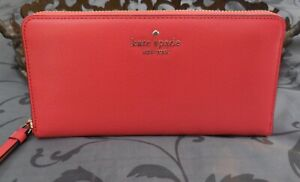 Kate Spade~ SAM Large Continental Leather Zip Around Wallet~GRAPEFRUIT~NWT $229