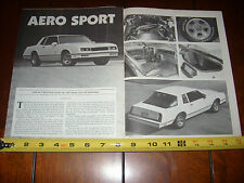 1987 MONTE CARLO SS AERO COUPE - ORIGINAL 1987 ARTICLE