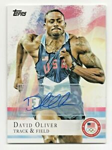 2012 Topps USA Olympic Team Autograph #21 David Oliver Track and Field Hurdles