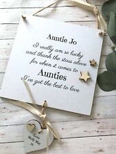 Personalised  Auntie Birthday Gift Wall Plaque Sign Shabby Chic P289