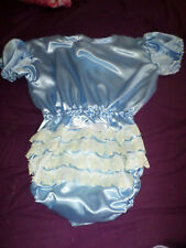 """ADULT BABY SISSY all-in-one BLUE SATIN ROMPER SUIT 48"""" CHEST SLEEPSUIT LACE BACK"""