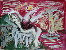 Leda and the Swan, watercolor. Signed Ferrer? 1953