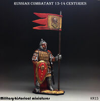 Russian combatant 13-14 century Tin toy soldier 54 mm, figurine, HAND PAINTED