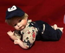 "Vtg Gustave Wolff Porcelain Crawling Baby Boy Doll 11"" Sammy Signed cloth body"