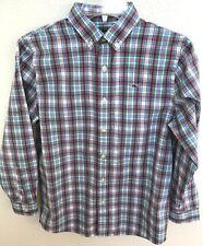 Vineyard Vines Blue Plaid Long Sleeve Button Down Whale Shirt Boys M 12 14