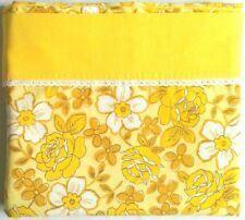 Vtg. DANTREL Bedsheet FULL FLAT Retro Yellow Roses Flower Power No Iron Muslin